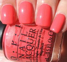 Ice Queen's Nail Parlour OPI I Eat Mainly Lobster. Love this beautiful coral with a shimmer. Perfect for Summer. :D