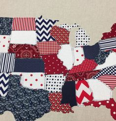 Fabric Scrap Map, fabric map, united states, burlap, USA, red, white, blue