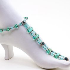 Bracelet de pied en crystal et argent pinned with Pinvolve
