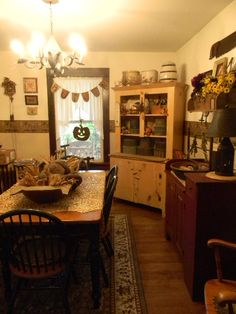 Notforgotten Farm : My Hallowe'en Farmhouse ~ Primitive Dining Rooms, Country Dining Rooms, Primitive Kitchen, Primitive Furniture, Country Furniture, Country Kitchen, Primitive Fall, Country Primitive, Country Sampler