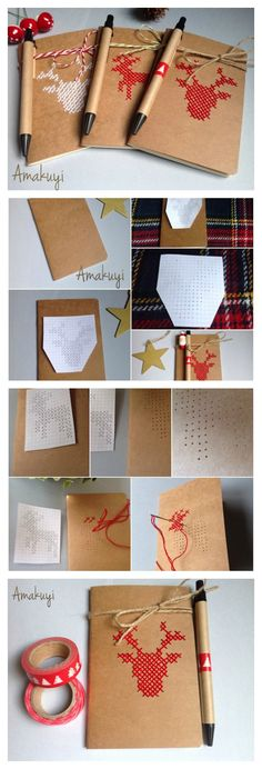 Diy libretas con dibujo de punto de cruz con figuras navideñas.  #diy #christmas #ciervos #puntodecruz #regalos