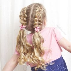 French pull-through braids and pigtails on Emma