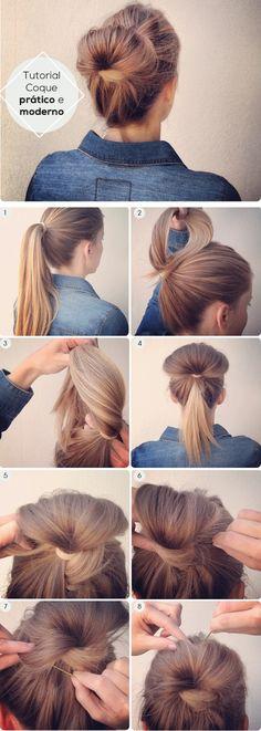 Dica de penteado para as meninas que querem fugir do coquinho básico do dia-a-dia! Muito fofo, né? <3: