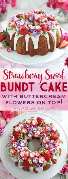 Strawberry Swirl Bundt Cake - a moist vanilla cake with a strawberry swirl inside, topped with fresh berries and beautiful buttercream flowers!   From SugarHero.com #bundtcake #cake #buttercream #strawberries #russianpipingtips #buttercreamflowers