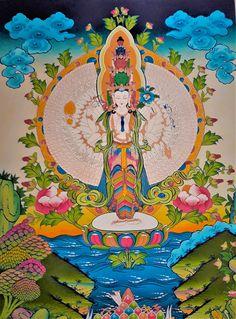 Lokeshwor Thangka Painting Buddhist Shrine, Buddhist Art, Buddhist Wheel Of Life, Buddhist Practices, Thangka Painting, Buddhist Quotes, Durga Goddess, Buddhism, Meditation