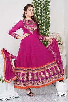 Pink Georgette Designer Anarkali Suit