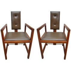 Preowned Andre Sornay Attributed Pair Of Chairs ($8,000) via Polyvore featuring home, furniture, chairs, accent chairs, armchairs, brown, pair accent chairs, set of 2 chairs, second hand furniture and second hand chairs