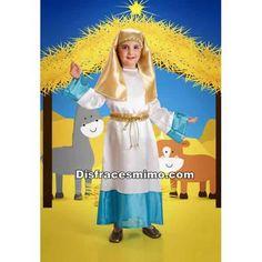 Tu mejor disfraz virgen maria para niñas infantiles 5 a 6 años.resulta perfecto para representar al mítico personaje histórico religioso en los Belenes o Nacimientos Vivientes.Este disfraz es ideal para tus fiestas temáticas de disfraces de navidad.