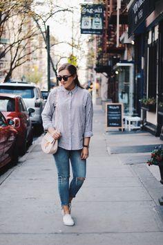 Soho, New York  Chloe Drew Bag striped Shirt vans @saansh