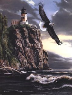 Eagle Over Lighthouse Art Print by Kevin Daniel