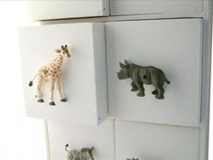 drill holes through plastic animal toys for drawer knobs