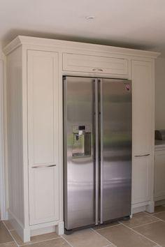 American fridge freezer surrounded by handmade cabinetry by Benchwood Kitchens… Kitchen Larder Units, Kitchen Cabinet Storage, Kitchen Room Design, Kitchen Redo, Kitchen Ideas, American Fridge Freezers, Refrigerator Cabinet, Kitchen Utilities, Pantry Design