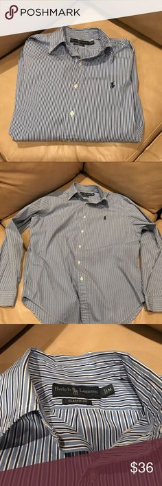 Men's Ralph Lauren Polo Dress Shirt Navy, Blue and white stripes. Shirt in excellent condition. Size medium Classic Fit. Bundle for deals! Polo by Ralph Lauren Shirts Dress Shirts