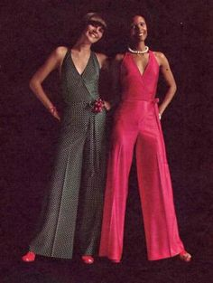 1970s Misses Halter Top and Flared Pants