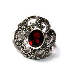925 Solid Sterling Silver Natural Garnet & by gemsnjewelryworld