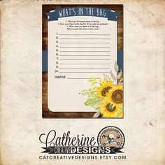 Navy Sunflower Printable Bridal Shower Whats In the Bag Game  Our Bridal Shower Whats In the Bag? game has the guests guessing at what 10 items are put into a bag that will be gifted to the bride to take on her honeymoon. * This listing is for a digital download. You will be able to download your files immediately. We will NOT be shipping anything to you! ____________________________________________  WHAT YOU WILL RECEIVE:  * PDF and JPG files. * PDF is two games to a 8.5x11 page. * JPG is…