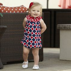 Baby Girl Red Navy Lattice Bubble