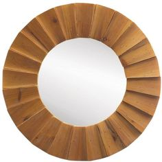 Mid Century Style Wooden Framed Round Wall Mirror