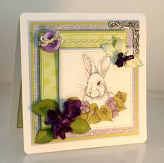 Rabbit Card, Handmade Greeting Card, Thinking of you or Just Because, Birthday or Any Occasion, dimensional card, OOAK, fancy handmade card