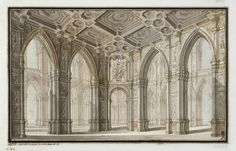 Author: Bibiena, Carlo Galli. 1728-1787  Title:  Interior in Gothic Style  Place: Italy  Date: 18th century  Technique:  pen and brush with Indian ink and bistre  Dimensions:  29x43 cm