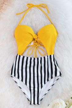Yellow and Stripe Lace Up One Piece Swimsuit by Cupshe - To buy again Tie Dye Bikini, Bandeau Bikini, Bikini Swimwear, Bikini Tops, Tankini, Bikini Floral, Bh Push Up, Haut Bikini, Fashion Clothes