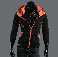 2014 Fashion New Korean Style Men Slim Fitting Zipers Fashion Hoodie Cotton Blends Coat Jacket