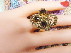 Vintage Gold and Brown Rhinestone Ring - Size Adjustable - R-381 - Gold Ring - Gold Rhinestone Ring - Brown Rhinestones