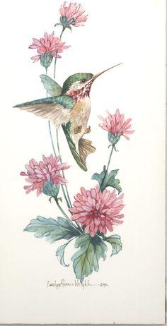 Calliope hummingbird print by Carolyn Shores Wright.