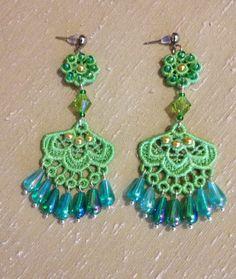 Lace earrings Green earrings Beaded earrings by NewCreativeBliss, $20.00