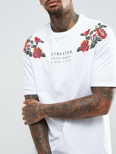 Bershka Streeter T-Shirt With Floral Embroidery In White from ASOS (men, style, fashion, clothing, shopping, recommendations, stylish, menswear, male, streetstyle, inspo, outfit, fall, winter, spring, summer, personal)