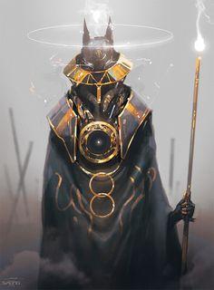 Anubis by Esteo : ImaginaryImmortals Fantasy Character Design, Character Design Inspiration, Character Concept, Character Art, Concept Art, Dark Fantasy Art, Fantasy Artwork, Dnd Characters, Fantasy Characters
