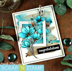 Sandi MacIver - Papercraft artist, shares a NEW VIDEO how to watercolor with Tombow Markers using the Penny Black Stamp Harmony for Scrap 'N Stamp Tombow Markers, Penny Black Cards, Wedding Anniversary Cards, Congratulations Card, Tampons, Ink Pads, Watercolor Cards, Paper Cards, Flower Cards