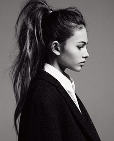 High ponytail in black and white