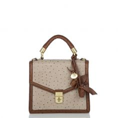 Brahmin S Olivia Rose Satchel Bag Ostrich Embossed Leather Flap Is Timeless And Tailored