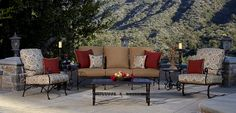Fine wrought iron furniture. Available in different finishes and fabrics. www.avdesignsgarden.com