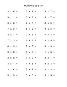 2 Worksheets 3 Times Tables 36 Horizontal Multiplication Facts Questions 2 by 0 9 A Multiplication Sheets, Multiplication Facts Worksheets, Multiplication Worksheets, Free Math Worksheets, Math Facts, Printable Worksheets, Free Printable, Multiplication Strategies, Printables