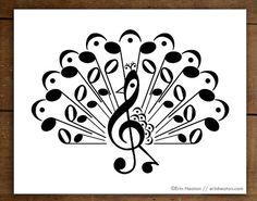 Music note art print, PEACOCK music art print - 5x7, 8x10, 11x14 Fine art print, Music wall art, Music gift, Music room decor, Musician gift