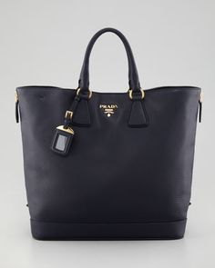 Cervo Snap-Top Tote Bag, Baltico by Prada at Bergdorf Goodman.