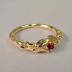 http://rubies.work/0361-sapphire-ring/ SALE Leaves Ruby Ring 14K Gold and Ruby Ring July by doronmerav