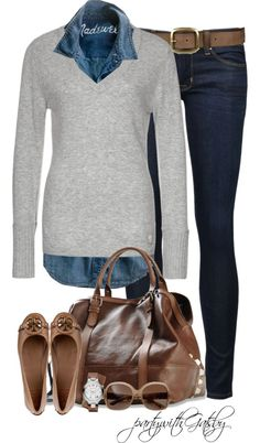 """Understatedly Chic"" by partywithgatsby on Polyvore. Casual Preppy. (Blue shirt underneath red sweater with jeans and brown boots would work nicely as well)"