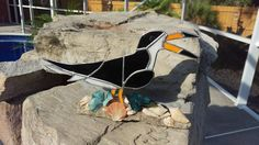 Mixed Media Stained Glass Black Skimmer with Seashells and Driftwood by SunshineSuncatchers on Etsy