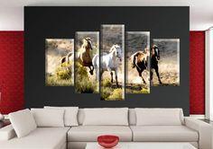 Tablou Horses 3431 Dimensiuni: 2x 30x50 cm - 2x 25x65 cm - 1x 25x80 cm Total: 135x80 cm Canvas, Modern, Painting, Art, Art Background, Painting Art, Kunst, Paintings, Gcse Art