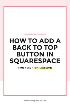 In Squarespace, there are a couple of ways to add a sticky back to top button with custom code, by using CSS and/or JQuery. Creative Business, Business Tips, Portfolio Site, Web Design Inspiration, Business Inspiration, Tips & Tricks, Blogger Tips, Cool Websites, Coding
