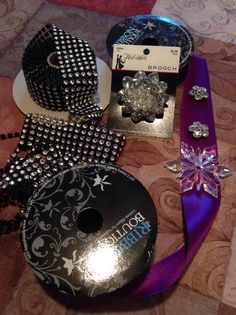 Rhinestones and ribbon used to decorate a cake.