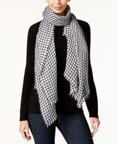 Inc International Concepts Contoured Houndstooth Scarf, Only at Macy's - Black