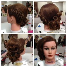 Low side updo braid to pin curl