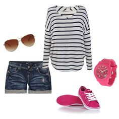 """""""Relaxed summer outfit with pop of pink"""" by smassey on Polyvore"""