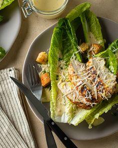 Grilled Chicken Caesar Salad Grilled Chicken Caesar Salad, Grilled Salmon, Homemade Croutons, Homemade Dressing, Bbq Ideas, Salad Ideas, Fresh Chives, Garlic Butter, Food Processor Recipes