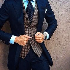 Image result for checked navy blue suit #menssuitsvintage