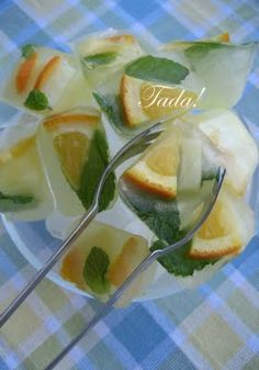 Flavored ice cubes- Sangria anyone? This idea would be great with oranges and other frozen fruits.